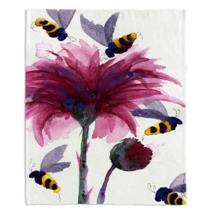 Artistic Sherpa Pile Blankets | Dawn Derman - Bees in the Thistle