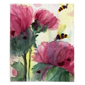 Decorative Fleece Throw Blankets | Dawn Derman - Bees in the Wildflowers