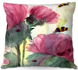 Unique Outdoor Pillow 16X16 from DiaNoche Designs by Dawn Derman - Bees in the Wildflowers