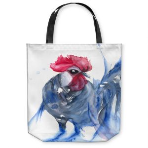 Unique Shoulder Bag Tote Bags | Dawn Derman - Blue Bresse Rooster | animal bird chicken watercolor