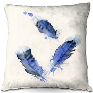 Decorative Outdoor Patio Pillow Cushion | Dawn Derman - Blue Jay Feathers | Blue Bird