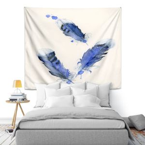 Artistic Wall Tapestry | Dawn Derman - Blue Jay Feathers | Blue Bird