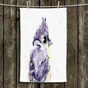 Unique Hanging Tea Towels | Dawn Derman - Blustery | bird animal watercolor