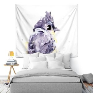 Artistic Wall Tapestry | Dawn Derman - Blustery | bird animal watercolor