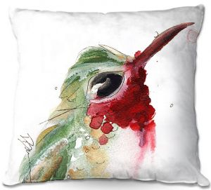 Unique Outdoor Pillow 16X16 from DiaNoche Designs by Dawn Derman - Broadtail Hummer