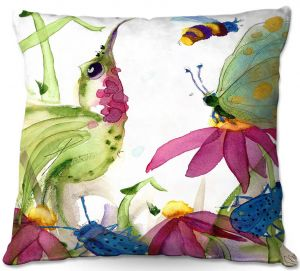 Unique Outdoor Pillow 16X16 from DiaNoche Designs by Dawn Derman - Calliope Coneflower