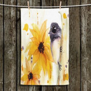 Unique Hanging Tea Towels | Dawn Derman - Chickadee Sunflowers | Nature Bird Branch