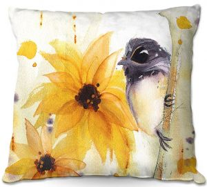 Unique Outdoor Pillow 22X22 from DiaNoche Designs by Dawn Derman - Chickadee Sunflowers