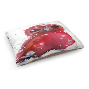 Decorative Dog Pet Beds | Dawn Derman - Christmas Finch | bird animal watercolor