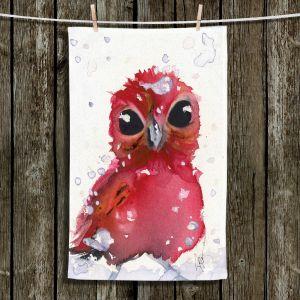 Unique Hanging Tea Towels | Dawn Derman - Christmas Finch | bird animal watercolor