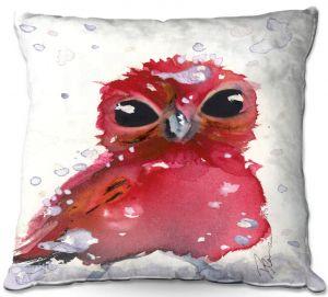 Decorative Outdoor Patio Pillow Cushion | Dawn Derman - Christmas Finch | bird animal watercolor