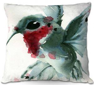 Decorative Outdoor Patio Pillow Cushion | Dawn Derman - Christmas Hummingbirds II