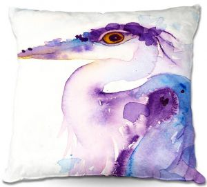 Unique Throw Pillows from DiaNoche Designs by Dawn Derman - Colorful Reflection Sea Bird   16X16