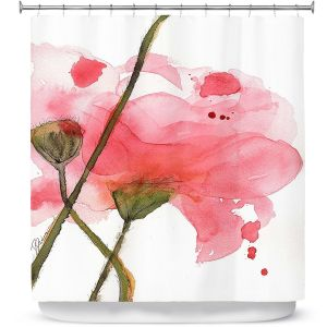Unique Shower Curtain from DiaNoche Designs by Dawn Derman - Corral Poppies
