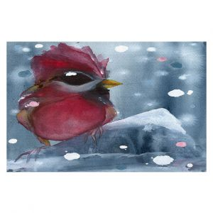 Decorative Floor Covering Mats | Dawn Derman - Evening Snow Cardinal | Red Bird