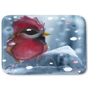 Decorative Bathroom Mats | Dawn Derman - Evening Snow Cardinal | Red Bird