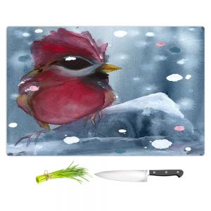 Artistic Kitchen Bar Cutting Boards | Dawn Derman - Evening Snow Cardinal | Red Bird
