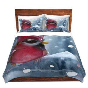 Artistic Duvet Covers and Shams Bedding | Dawn Derman - Evening Snow Cardinal | Red Bird