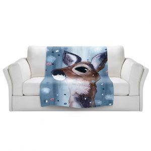 Artistic Sherpa Pile Blankets   Dawn Derman - Evening Snow Deer   Wild Animals Winter