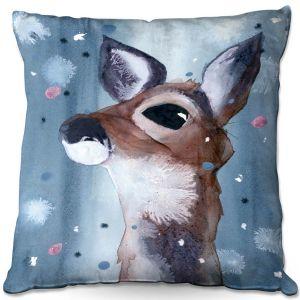 Decorative Outdoor Patio Pillow Cushion | Dawn Derman - Evening Snow Deer | Wild Animals Winter
