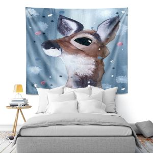 Artistic Wall Tapestry | Dawn Derman - Evening Snow Deer | Wild Animals Winter