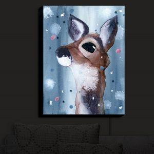 Nightlight Sconce Canvas Light | Dawn Derman - Evening Snow Deer | Wild Animals Winter