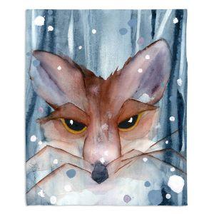 Decorative Fleece Throw Blankets | Dawn Derman - Fox Evening Snow | Wild Animals Winter