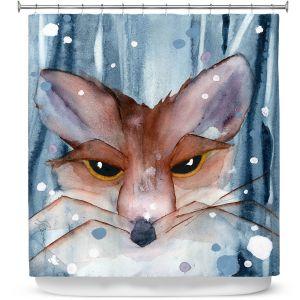 Premium Shower Curtains | Dawn Derman - Fox Evening Snow