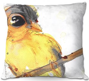 Unique Outdoor Pillow 18X18 from DiaNoche Designs by Dawn Derman - Gold Finch