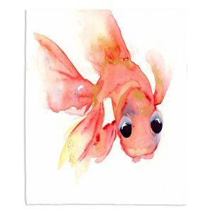 Decorative Fleece Throw Blankets | Dawn Derman - Goldie Fish | Animals Fish Ocean Water