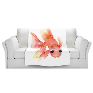 Artistic Sherpa Pile Blankets | Dawn Derman - Goldie Fish | Animals Fish Ocean Water