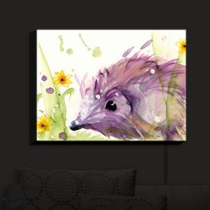 Nightlight Sconce Canvas Light | Dawn Derman - Hedgehog in the Wildflowers