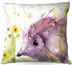 Unique Outdoor Pillow 16X16 from DiaNoche Designs by Dawn Derman - Hedgehog in the Wildflowers