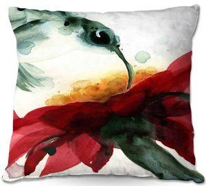Decorative Outdoor Patio Pillow Cushion | Dawn Derman - Hummingbirds Red Flower