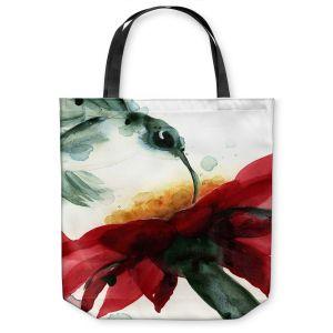 Unique Shoulder Bag Tote Bags | Dawn Derman - Hummingbirds Red Flower