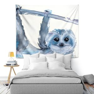 Artistic Wall Tapestry | Dawn Derman - Just Hanging Around | sloth animal nature creature