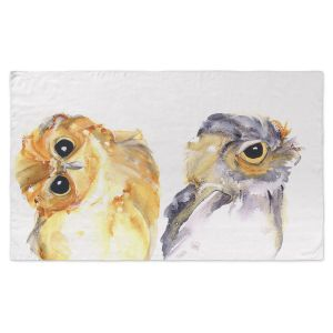 Artistic Pashmina Scarf | Dawn Derman - Just The Two of Us | bird owl animal watercolor