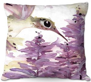 Unique Throw Pillows from DiaNoche Designs by Dawn Derman - Lavender Hummer   20X20