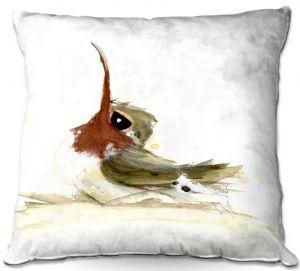 Throw Pillows Decorative Artistic | Dawn Derman - Lil Hummer | bird hummingbird watercolor animal