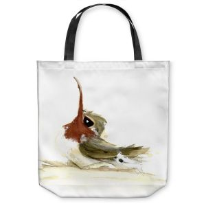 Unique Shoulder Bag Tote Bags | Dawn Derman - Lil Hummer | bird hummingbird watercolor animal