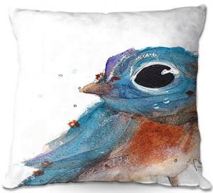 Unique Outdoor Pillow 16X16 from DiaNoche Designs by Dawn Derman - Little Bluebird