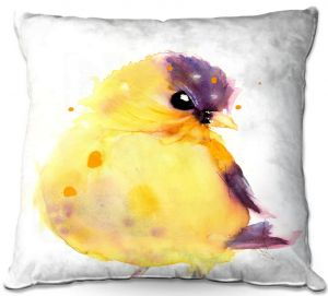 Unique Outdoor Pillow 16X16 from DiaNoche Designs by Dawn Derman - Little Goldfinch