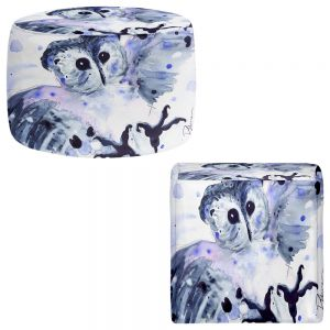Round and Square Ottoman Foot Stools | Dawn Derman - Midnight Owl