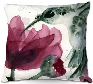 Unique Throw Pillows from DiaNoche Designs by Dawn Derman - Peonies and Hummingbirds   16X16