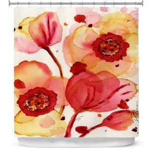 Unique Shower Curtain 69w x 72h inches from DiaNoche Designs by Dawn Derman - Poppies
