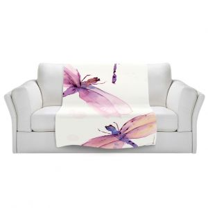 Artistic Sherpa Pile Blankets   Dawn Derman - Purple Dragonflies   insect bug critter creature watercolor