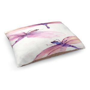 Decorative Dog Pet Beds | Dawn Derman - Purple Dragonflies | insect bug critter creature watercolor