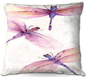 Unique Outdoor Pillow 16X16 from DiaNoche Designs by Dawn Derman - Purple Dragonflies