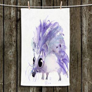 Unique Bathroom Towels   Dawn Derman - Purple Hedgehog   Nature creatures animals small children cute