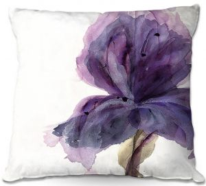 Unique Outdoor Pillow 22X22 from DiaNoche Designs by Dawn Derman - Purple Iris